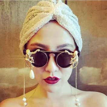 New brand metal Retro Leopard frame metal Gold Monkey Baroque sunglasses Luxury Sun Beach Metal Chain pearl round glasses women