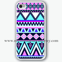 Aztec Pattern Printing iphone 4 case, iPhone 4s Case, iphone case 4s,  white hard case for iphone 4, iphone 4S
