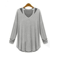 New Women Casual Blouse Plus Size Top Fashion Loose Long Sleeve T Shirt Dress Tee 3 color with size S,M,L,XL,2XL,3XL,4XL [7669496518]