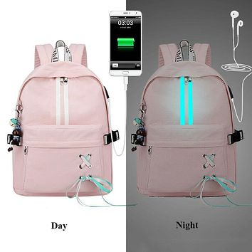 Fashion Anti Theft Reflective Waterproof Women Backpack USB Charge School Bags For Girls Travel Laptop Rucksack Bookbags FREE SHIPPING
