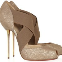 Christian Louboutin Big Dorcet 120 Textured-Leather Pumps - $193.00