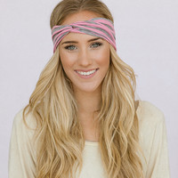 Striped Turband Headband Turban Twist Headband Thin Style Turband Headband Women's Hair Accessory Pink and Grey Headband (HB-44)
