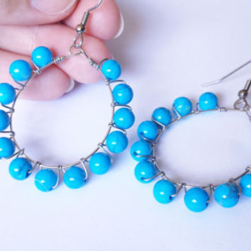 Wire Wrapped Blue Turquoise Howlite Hoop Earrings