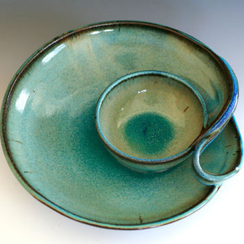 Chip and Dip handmade ceramic dish pottery by ocpottery on Etsy