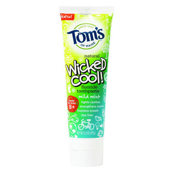Tom's of Maine Toothpaste - Wicked Cool - Flouride - Kids - Mild Mint - 4.2 oz - Pack of 6
