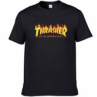 THRASHER classic flame logo summer cotton personality round neck short sleeve F0227-1 Black
