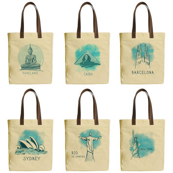 World Famous Landmarks Beige Printed Canvas Tote Bags Leather Handles WAS_30