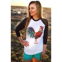 RISE AND SHINE ROOSTER BASEBALL TEE from the Crazy Train Clothing Line!