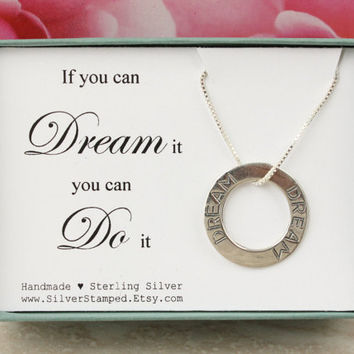 Dream necklace sterling silver necklace If you can dream it you can do it inspirational jewelry gift box graduation gift for friend