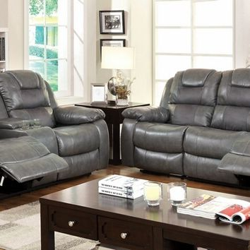 2 pc Grandolf collection traditional style gray bonded leather match standard motion sofa and love seat with center console and recliner ends