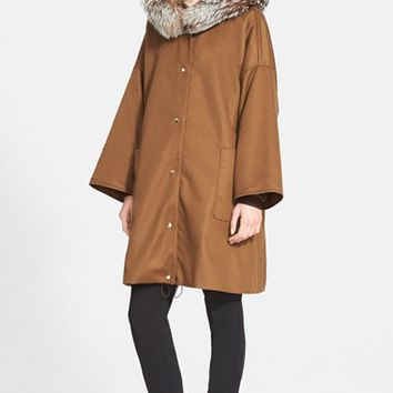 Women's Max Mara 'Elica' Hooded Coat with Genuine Fox Fur Trim,