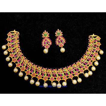 Broad ruby emerald withe pearl dangling one gram gold choker Necklace and Earring