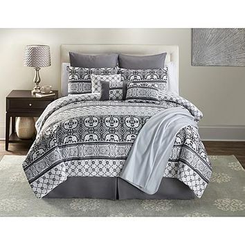 16 Piece Gray Tile Complete Comforter Bedding Set Bed in a Bag