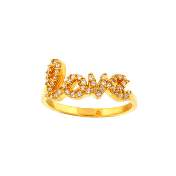 CZ LOVE Gold Ring