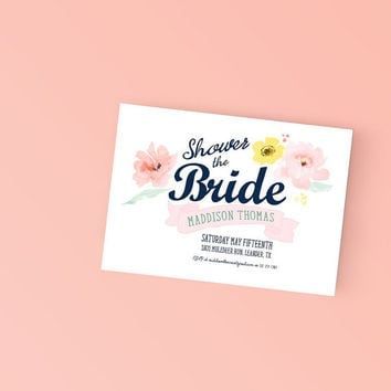 Printable Bridal Shower Invitation - Beautiful Watercolor Floral Invite