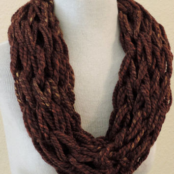 Knit Infinity cowl scarf, Brown knitted chunky cowl scarf, hand knitted scarf, loop scarf, knitted scarves, thick winter scarf