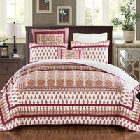 DaDa Bedding Bohemian Moroccan Tear Drop Rubies Paisley Cotton Bedspread Set (JHW-653)