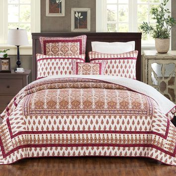 DaDa Bedding Bohemian Moroccan Tear Drop Rubies Paisley Cotton Quilted Bedspread Set (JHW-653)
