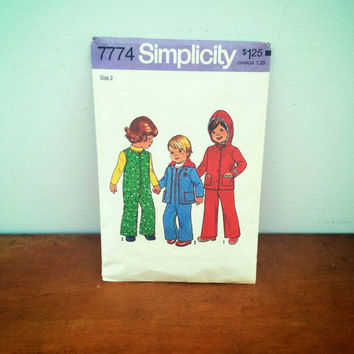 Vintage 1970's Simplicity Pattern #7774 Toddler's Hooded Jacket and Coveralls size 2
