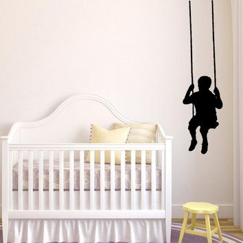 Swinging Child Wall Decals Removable Wall Sticker Little boy silhouette Wall Decor For Nursery Kids Room Baby Bedroom Decals L87