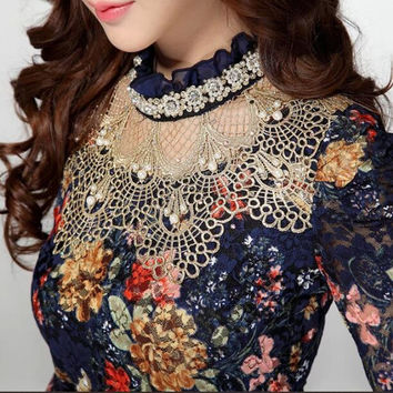 Elegant Women Floral Lace Blouse Vintage Ruffled Stand Collar Long Sleeve Beaded Embroidery Lace Tops Hollow Out Mesh Shirt