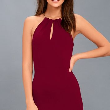 Ring My Bell Wine Red Halter Bodycon Dress