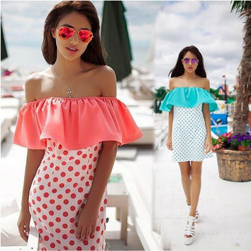 Polka Dots Print Off the Shoulder Ruffles Shift Dress