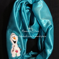 Loopy Infinity Scarf with Embroidered Snowman Inspired by Olaf of Frozen