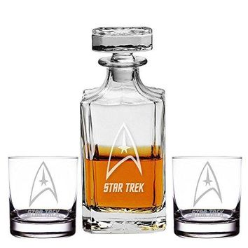 Abby Smith, Start Trek Engraved Decanter and Rocks Glasses, Set of 3