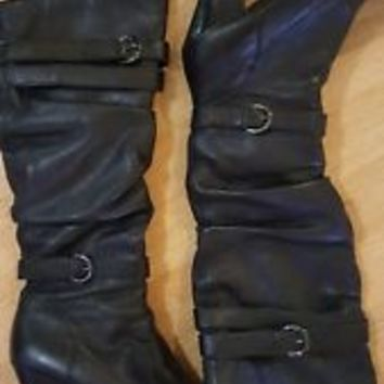 Steve Madden Womens Boots Hunny 7.5 Black Knee High Slouchy Buckle Straps EUC