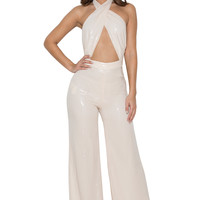 Clothing : Jumpsuits : 'Santiaga' Peach Sequinned Wrap Front Jumpsuit