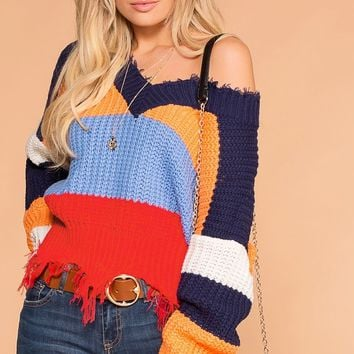 Power Up Colorblock Distressed Knit Sweater