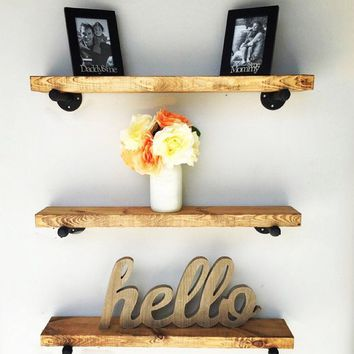 Floating Shelves Set of 3, Industrial Shelves,Pipe Shelves