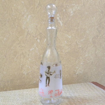 Vintage Clear and Frosted Glass Wine Liquor Decanter-Island Party Scene-with glass stopper