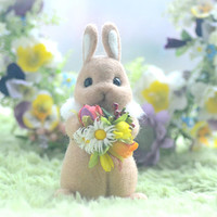Needle felted beige rabbit doll, handmade bunny figurine, mini bunny with flower bouquet pocket doll, easter decor, kids gift, gift under 30