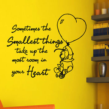 Nursery Wall Decals Winnie The Pooh Quote Decal Sometimes the smallest things Sayings Stickers For Kids Room Wall Decor Murals Z737