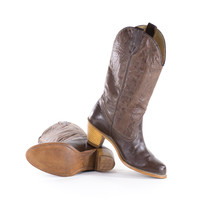 Leather Cowboy Boots Brown Southwestern Stacked Heel Boots Womens Size 7.5