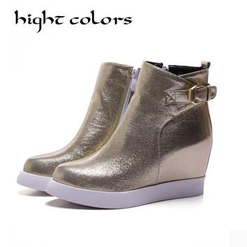 Gold Silver Black 2017 Fashion Sequined Cloth Side Zipper Ankle Boots For Women Pointed Toe Elevator Shoes Platform Wedge Boots
