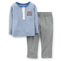 2-Piece Henley Top & Pant Set