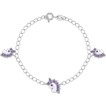 925 Sterling Silver Purple CZ White Enamel Unicorn Charm Bracelet for Girls 6""