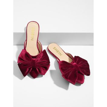Bow Detail Pointed Toe Mule Flats