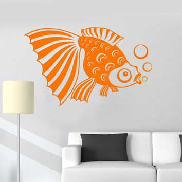Vinyl Wall Decal Fish Aquarium Kids Room Bathroom Art Decor Stickers Unique Gift (ig3083)