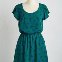 Critters Mid-length Short Sleeves A-line Dino My Gosh Dress in Pine by ModCloth