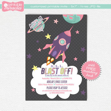 Pink purple rocket invitation, Girls space birthday invitation, Printable outer space party invite card for kids