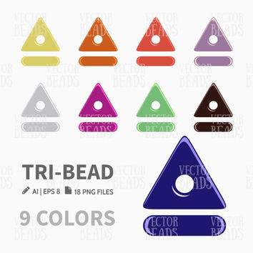 Tri-Bead Clip Art. Beads Vector Graphic, Vector illustration of glass beads