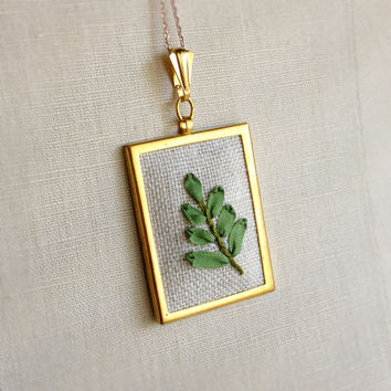 Silk Ribbon Embroidery Embroidered Necklace Fern Plant Branch Brooch or Pendant