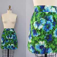 vintage 1970s blue green FLORAL mini skirt S M