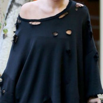 Get The LOOK KYLIE JENNER Dress Chic Black Off Shoulder T Shirt Dress Ripped and Distressed Celebrity Look T Shirt
