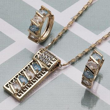 Gold Layered Women Greek Key Necklace and Earring, with Aqua Blue Cubic Zirconia, by Folks Jewelry