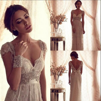 2017 Y Anna Campbell Backless Wedding Ball Gowns Beach Dresses Beads Ced Sleeves Vintage